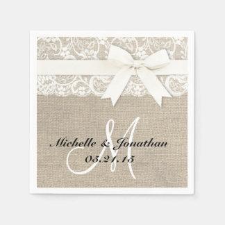Serviettes En Papier Blanc rustique de serviette de mariage de dentelle
