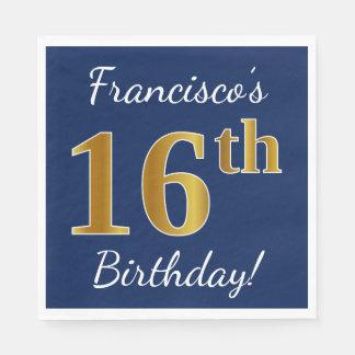 Serviettes En Papier Bleu, anniversaire d'or de Faux 16ème + Nom fait