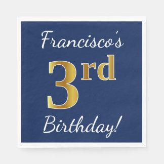 Serviettes En Papier Bleu, anniversaire d'or de Faux 3ème + Nom fait