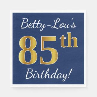 Serviettes En Papier Bleu, anniversaire d'or de Faux 85th + Nom fait