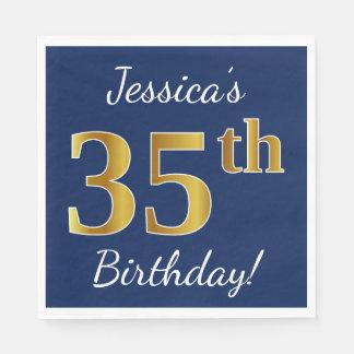 Serviettes En Papier Bleu, anniversaire d'or de Faux trente-cinquième +