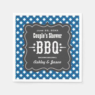 Serviettes En Papier Bleu des serviettes | de plaid de guingan de BBQ +