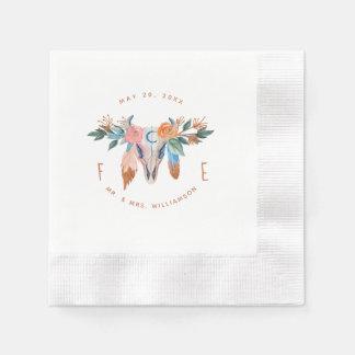 Serviettes En Papier Boho de cuivre floral et plume épousant la