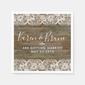 Serviettes En Papier Bois rustique et dentelle florale vintage blanche