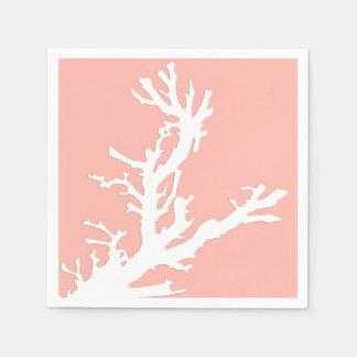 Serviettes En Papier Branche de corail - blanc sur le rose de corail