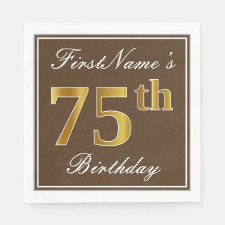 Serviettes En Papier Brown élégant, anniversaire d'or de Faux