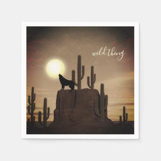 Serviettes En Papier cactus sauvage de désert d'hurlement de loup de