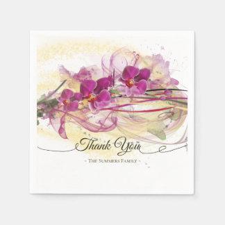Serviettes En Papier Calligraphie pourpre d'art abstrait d'orchidées