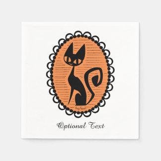 Serviettes En Papier Camée de chat noir de Halloween