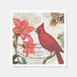 Serviettes En Papier cardinal français vintage moderne d'hiver