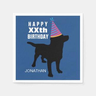 Serviettes En Papier Casquette noir drôle d'anniversaire de chien de