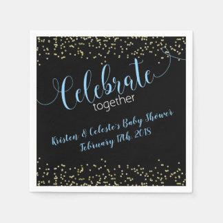 Serviettes En Papier Célébration bleue d'amis de joint d'or de bébé de