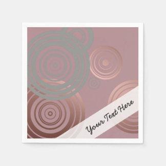 Serviettes En Papier cercles géométriques gris d'or rose clair élégant