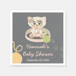 Serviettes En Papier Chaton dans le baby shower rose de