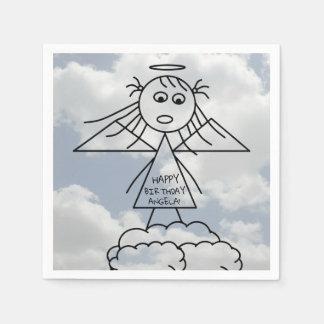 Serviettes En Papier Chiffre mignon fille de bâton d'ange sur
