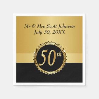 Serviettes En Papier cinquantième Anniversaire de mariage d'or