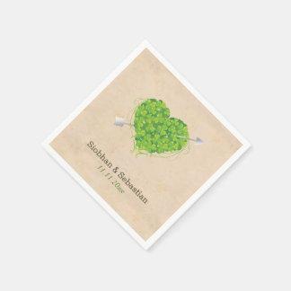 Serviettes En Papier Coeur irlandais de shamrock de mariage