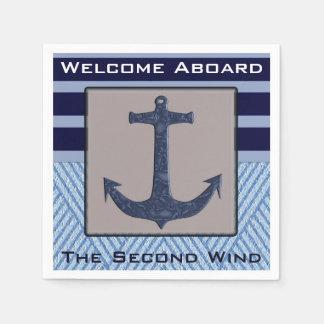 Serviettes En Papier Conception d'ancre de bateau et rayures nautiques
