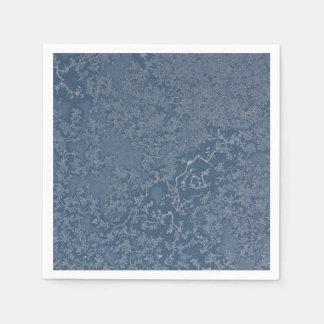 Serviettes En Papier Cristaux glacials foncés de bleu en acier