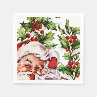 Serviettes En Papier Cru gai de gui de houx de Père Noël
