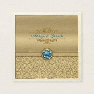 Serviettes En Papier Damassé métallique d'or de pierre gemme bleue de