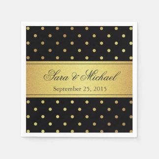 Serviettes En Papier Décoré d'un monogramme élégant - noir et pois d'or