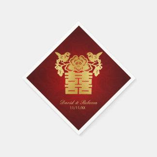 Serviettes En Papier Double symbole de bonheur d'inséparables chinois