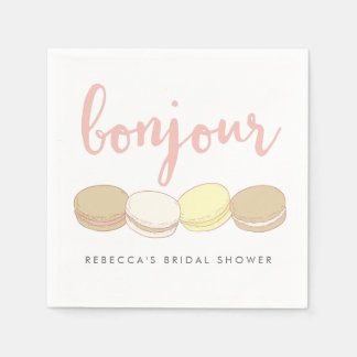 Serviettes En Papier Douche nuptiale de Macarons de Français de Bonjour