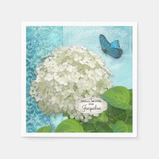 Serviettes En Papier Douche nuptiale d'hortensia de damassé blanche de