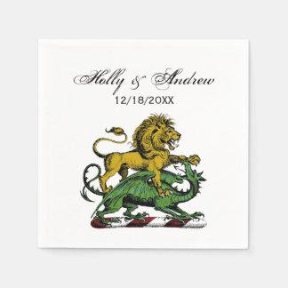 Serviettes En Papier Emblème héraldique de crête de lion et de dragon