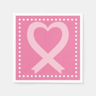 Serviettes En Papier Événement rose de ruban de coeur de cancer du sein
