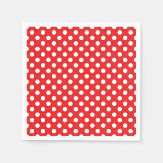 Serviettes En Papier Fête d'anniversaire rouge et blanche de pois