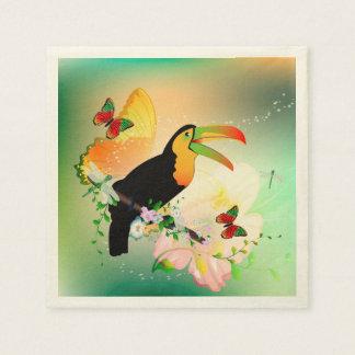 Serviettes En Papier Fleurs avec le toucan