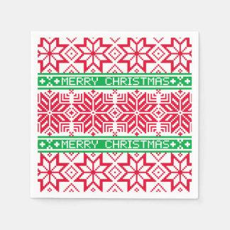 Serviettes En Papier Flocon de neige vert rouge laid de Joyeux Noël de