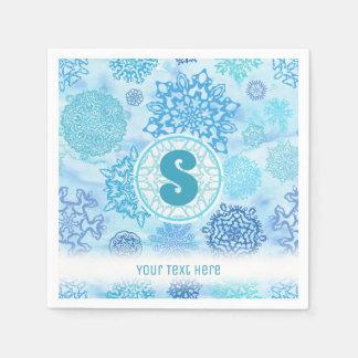 Serviettes En Papier Flocons de neige d'aquarelle avec le monogramme et