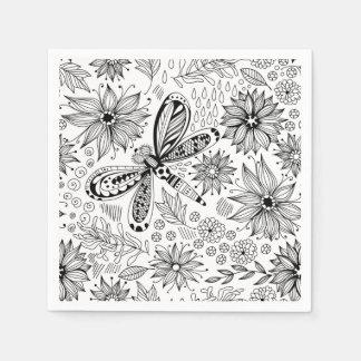 Serviettes En Papier Griffonnage de libellule et de fleurs