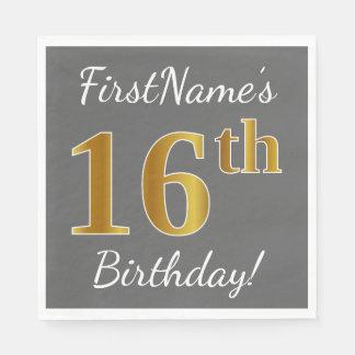 Serviettes En Papier Gris, anniversaire d'or de Faux 16ème + Nom fait