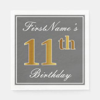 Serviettes En Papier Gris élégant, anniversaire d'or de Faux 11ème ;