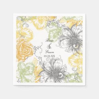Serviettes En Papier Gris graphique vintage floral moderne de jaune de