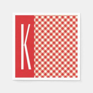 Serviettes En Papier Guingan diagonal rouge et blanc