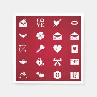 Serviettes En Papier Icônes de Valentine