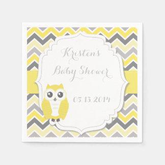 Serviettes En Papier Jaune Chevron de baby shower de hibou