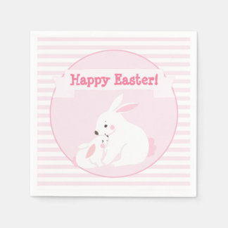 Serviettes En Papier Joyeuses Pâques ! lapin de mère et de bébé de |