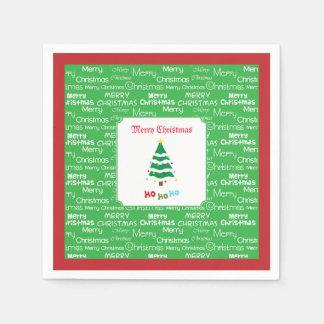 Serviettes En Papier Joyeux Noël et arbre de Noël