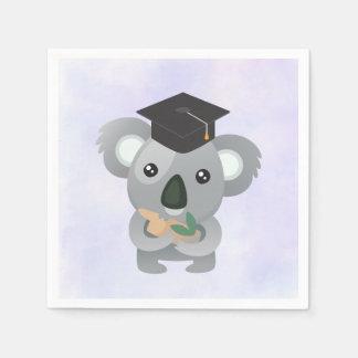 Serviettes En Papier Koala mignon dans un casquette noir d'obtention du