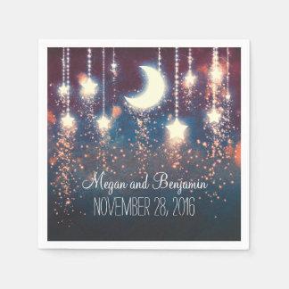 Serviettes En Papier la lune et les étoiles ont enchanté romantique