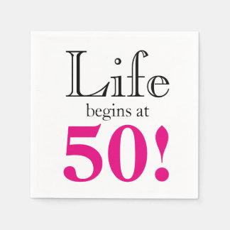 Serviettes En Papier La vie commence à 50
