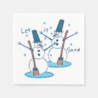 Serviettes En Papier Laissez lui neiger bonhommes de neige