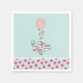 Serviettes En Papier Lapin mignon tenant un joyeux anniversaire de