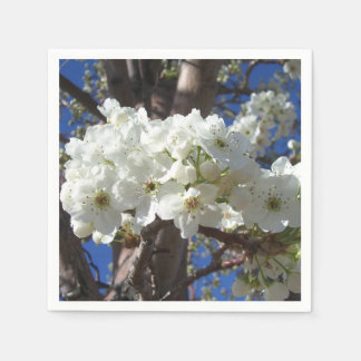 Serviettes En Papier Le blanc se développe arbre fleurissant du ressort
